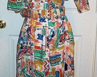 Vintage Ladies Bright Aztec Print Dress by Together Size 12 Only 10 USD