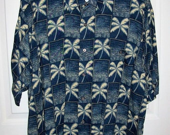 Vintage Men's Blue Tropical Print Hawaiian Shirt by Natural Issue Large Only 6 USD