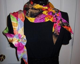 Vintage Ladies Multi Color Scarves w/ Matching Rosette Clip get Both for 5 USD