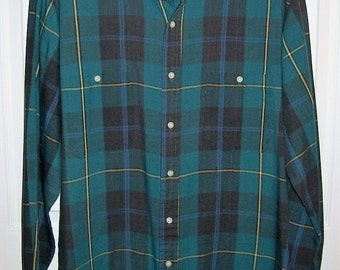 Vintage Men's Green & Blue Plaid Shirt by Steeplechase Medium Only 7 USD