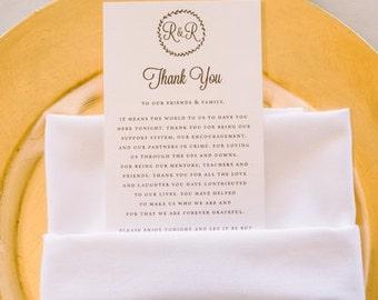 Printable Wedding Thank You Card | Wedding Favor, Guest Thank You Card, Printable Thank You, DIY Printable PDF, Kraft, To Our Family