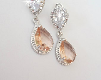 Champagne earrings - Sterling silver ear wires - Wedding jewelry - Bridesmaids gift - Bridal jewelry ~ Super sharp - Peach earrings ~
