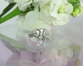 Emerald Cut Ring, Solitaire Gemstone Ring, Emerald Solitaire RIng, Emerald Cut Engagement Ring, Silver Statement Ring, Herkimer Diamond