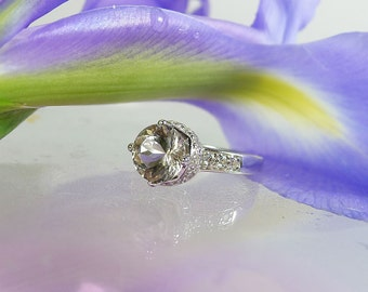 Champagne Engagement Ring, Smoky Herkimer Diamond Ring, Sterling Silver, Right Hand Ring. Promise Ring