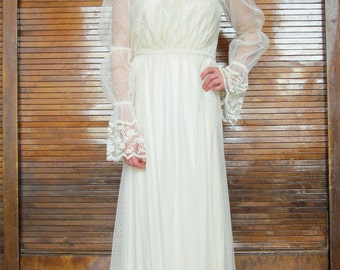 Vtg 70s Sheer Lace Overlay Wedding Dress/ San Francisco Bohemian Wedding Dress
