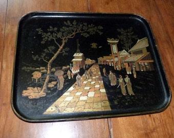 Antique French paper mache tray black lacquered black papier mache tray w gilded asian oriental Napoleon III decor papiermache papermache