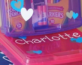 Personalized Toddler, Kid, Teen organization box/ car box/ art box/ perfect for road trips and traveling!