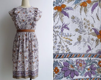 10-25% OFF Code In Shop - Vintage 80's 'Tropical Paradise' Ruffled Cotton Day Dress S or M