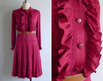 Vintage 80's 'Lady In Red' Ruffled Textured Silky Polyester Shirt Dress S or M