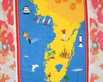 "Vintage Florida State Souvenir Terrycloth Beach Towel 53"" x 28"""