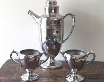 Art Deco Continental Silver Company Inc. Coffee Serving Set with Creamer and Open Sugar