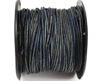 1mm Natural Blue Leather Round Cord - Distressed Matte Finish