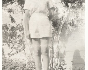 """Vintage Photo """"She Wears Short Shorts"""" Pretty Girl With Long Legs And Short Shorts - Black & White Found Vernacular Photo"""