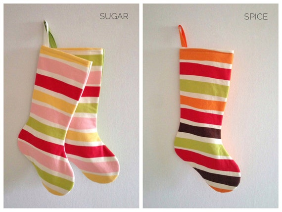 Christmas Stocking, Personalized Christmas Stocking Personalized, Striped Red Pink Boy Girl Kids Family Modern Holiday Stocking, Sugar Spice