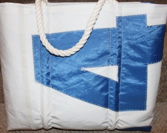 recycled blue number sail bag