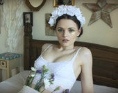 White rose velvet flower crown, floral hairband, hair accessory, hair wreath, festival crown