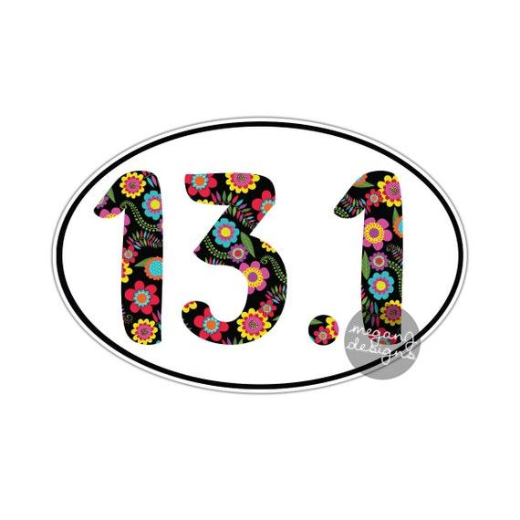 Items similar to floral 13 1 half marathon sticker runner for 13 1 window sticker