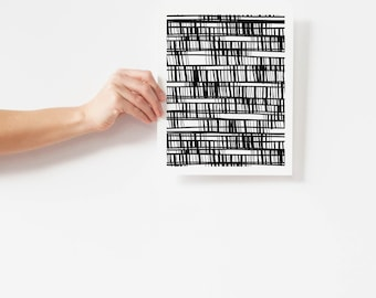 Graphic Black and White Abstract Art Print - Vertical Wall Art - 5x7, 8x10, 11x14 Pen and Ink Artwork - Bachelor Pad Art