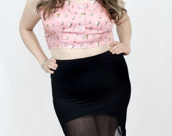Black and Sheer half moon body con skirt