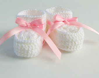 Crochet Baby Girl Booties in White with Pink Satin Ribbon for Newborns and Infants Up to 3 Months