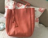 SUPER SALE/Large leather bag/Leather bag/shoulder leather bag/Pink peach bag/Shopping bag/Lara Klass bag
