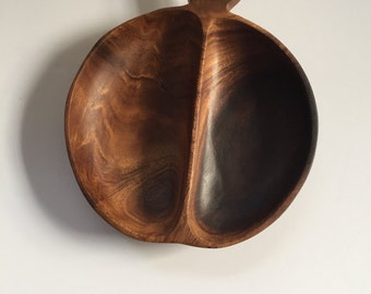 Wooden Nut Candy Bowl Apple Shaped