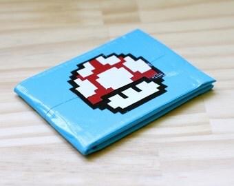 STORE CLOSING!! Retro Mario Mushroom Duct Tape Wallet Light Blue - Tapeworks