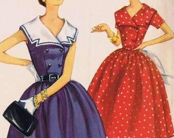 1950s Women's Dress Pattern, Uncut Factory Folded