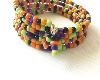 Halloween Memory Wire Bracelet, Wraparound, Beaded, Coil, Bracelet and Earring Set, Fall Colors, Jewelry