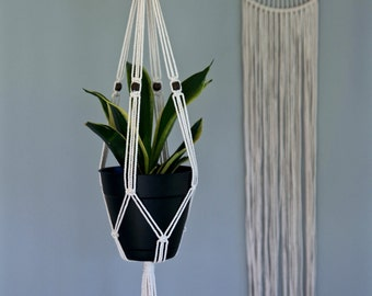 "Macrame Plant Hanger - 30"" Indoor Hanging Planter - Natural White Cotton w/ Wood Beads - Boho Home, Nursery, Wedding Decor - MADE TO ORDER"