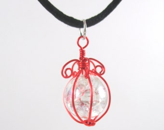 Red Wire Wrapped Fried Marble Pendant Necklace on Black Cord