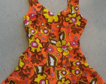 1960's 1970's GROOVY ORANGE SWIMSUIT skirted maillot flower power M