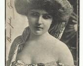 antique 1902 italian romantic postcard glamourous lady with typical edwardian hairdo