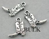 Cowboy Boots Charms BULK order Antique Silver 40pcs pendant beads 12X16mm CM0327S