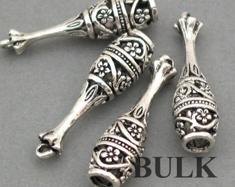 Flower bell Charms BULK order Antique Silver 20pcs pendant beads 8X30mm CM0013S