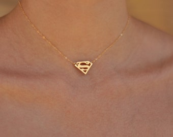 Superman Necklace in gold , Superman Choker Necklace , Tiny Superman Charm , Superman Jewelry , Everyday Necklace, Super Hero Jewelry
