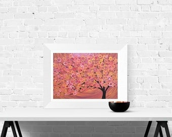 Rustic Wall Art Print - Sienna/terracotta Abstract Tree Fine Art Print - Giclee Print Of Abstract Autumn Tree Painting By Louise Mead