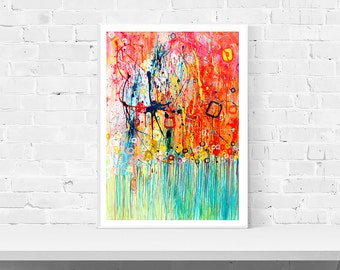 Orange & Blue Wall Art Print - Jellyfish - Turquoise and Orange Abstract Expressionist Print of Original Painting by Louise Mead