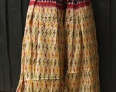 Size M/L Sari Pantaloons- 4 Yard Vintage Ikat Silk Gold Black Red Tribal Print Bellydance Harem Pants