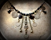 Tribal Assemblage Necklace- Raw Garnet Slabs Crystal and Kuchi Tribal Fusion Focal Necklace