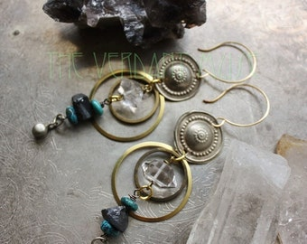 SALT Herkimer, Turquoise, and Black Tourmaline Brass Geometric Tribal Earrings