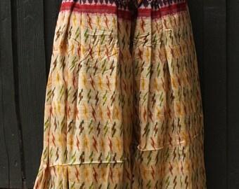 Size M/L Sari Pantaloons- 4 Yard Vintage Ikat Silk Gold Black Red Tribal Print Bellydance Harem Pants