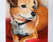 "Custom dog portrait - pet painting - hand painted from your photo - 8""x12"" canvas - pet lover gift"