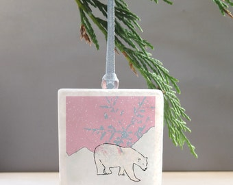 Polar bear Christmas tree decoration -Arctic Christmas decoration - Polar bear bauble - Christmas Tree Decoration - stocking filler-bear dec
