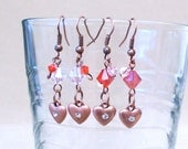 Red & Pink Crystal w/ Copper Heart Charms Pierced Earrings, Handmade Original Fashion Jewelry, Romantic Valentine Gift Idea, Small Earrings