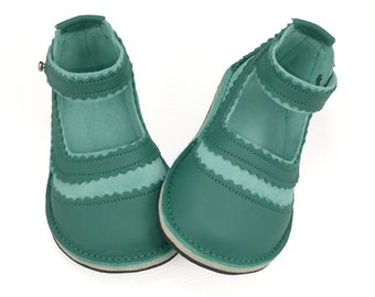 Mint green and jade green suede and leather children's Mary Jane shoes