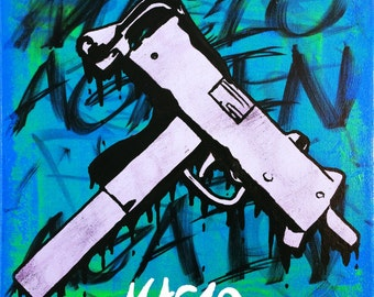 Mac10 Original Stencil Art Painting of Gun on 12x12 inch Stretched Canvas