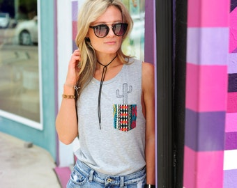 Boho style Grey muscle tank with hand sewn pocket and a cactus tree