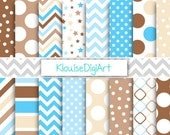 Blue, Cream and Brown Printable Digital Paper Pack with Stars, Chevrons, and Dots for Personal and Small Commercial Use (0194)