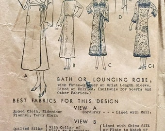 "Vintage 1920s 30s Butterick Misses' Robe Pattern 4181 Size 34"" Bust"